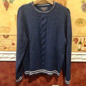 Penguin men's blue cable knit sweater